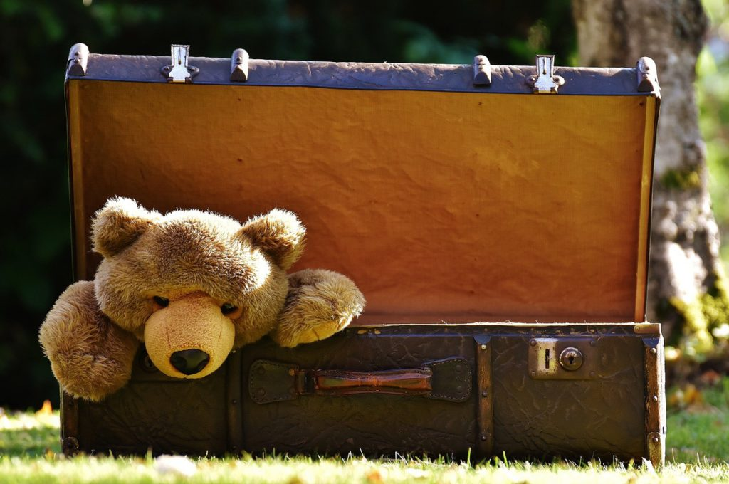 box with teddy bear