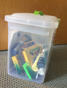 container with supplies
